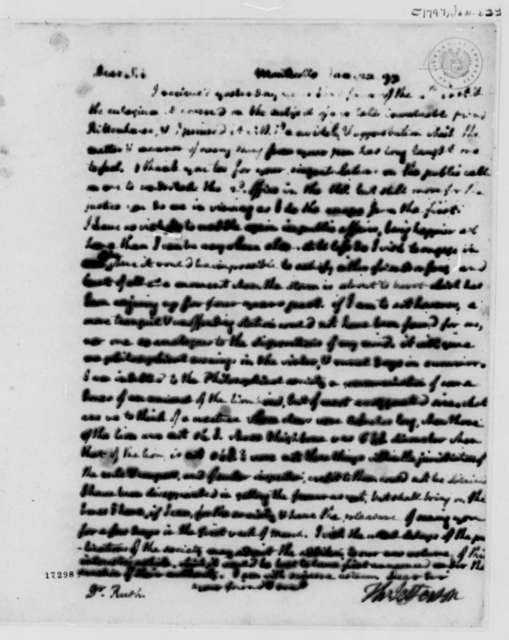 Thomas Jefferson to Benjamin Rush, January 22, 1797