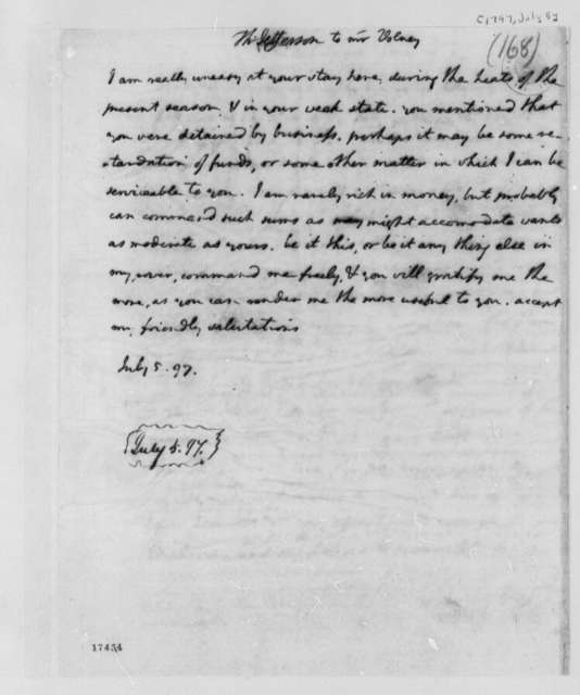 Thomas Jefferson to Count de Volney, July 5, 1797
