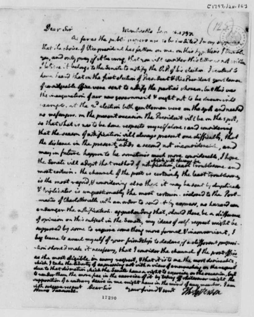 Thomas Jefferson to Henry Tazewell, January 16, 1797