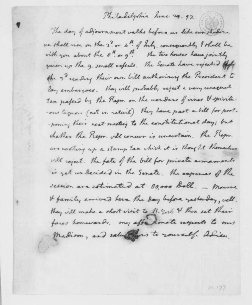 Thomas Jefferson to James Madison, June 29, 1797.