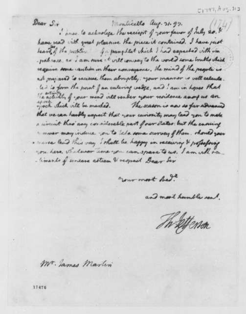 Thomas Jefferson to James Martin, August 31, 1797