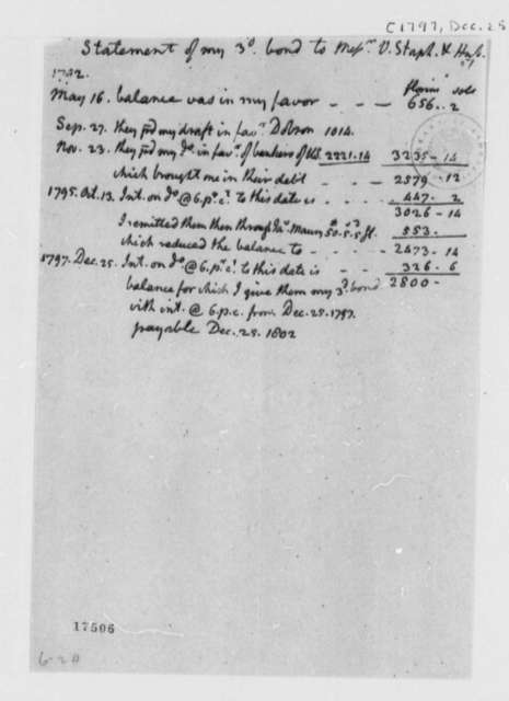 Thomas Jefferson to Van Staphorst & Hubbard, December 25, 1797, Statements Dated May 16, 1792 to December 25, 1797