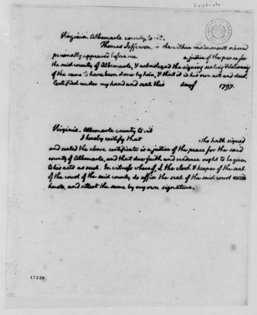 Thomas Jefferson to Van Staphorst & Hubbard, March 26, 1797, Bond and Copies