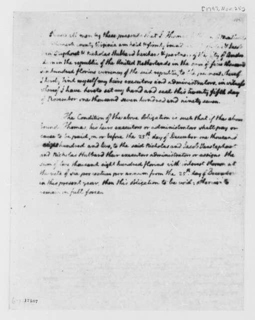 Thomas Jefferson to Van Staphorst & Hubbard, November 25, 1797, Bond For Debt