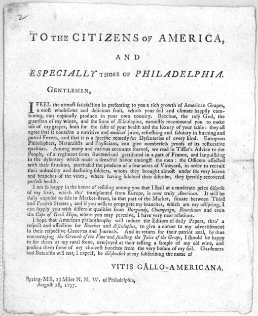 To the citizens of America, and especially those of Philadelphia ... [Signed:] Vitis Gallo-Americana. Spring-Mill, 13 miles N. N. W. of Philadelphia, August 18, 1797. [Philadelphia, 1797].