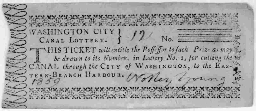 A collection of 20 lottery tickets of the Washington City