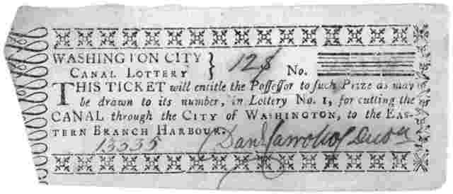 "[A collection of 20 lottery tickets of the Washington City Canal lottery ""for cutting the canal, through the City of Washington to the Eastern Branch harbour."" Washington, 1798]."