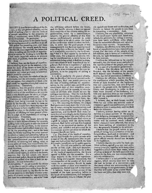 A political creed. [Kentucky, Apr.? 1798].
