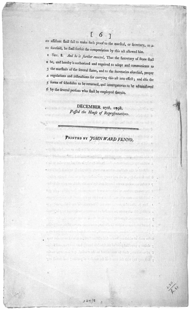 An act providing for the enumeration of the inhabitants of the United States ... December 27th, 1798. Passed the House of representatives. [Philadelphia] Printed by John Ward Fenno.