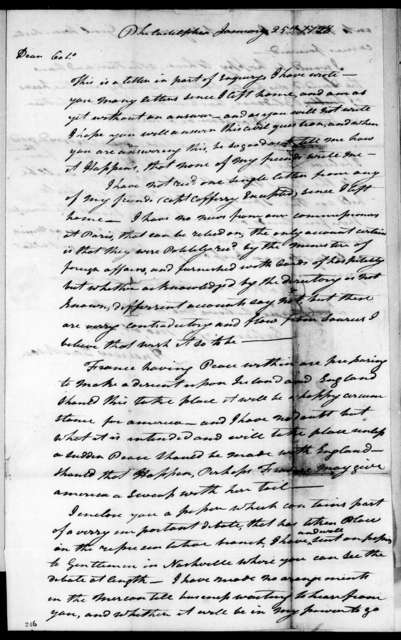 Andrew Jackson to Robert Hays, January 25, 1798