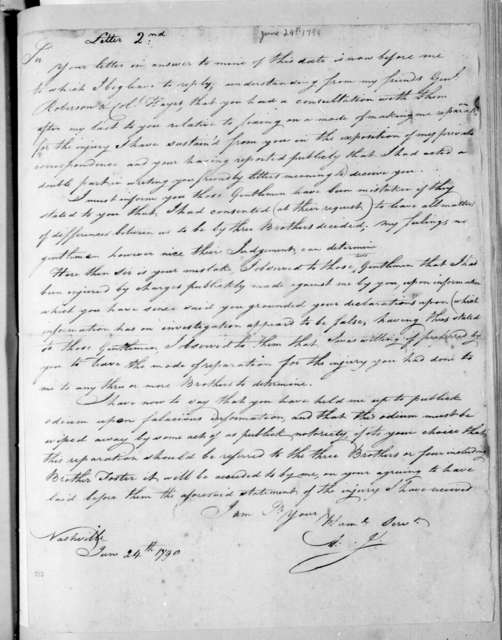 Andrew Jackson to William Cocke, June 24, 1798