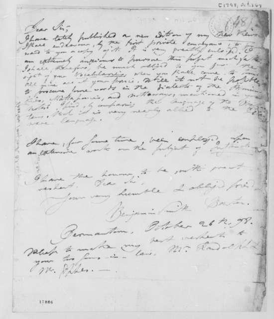 Benjamin Smith Barton to Thomas Jefferson, October 26, 1798