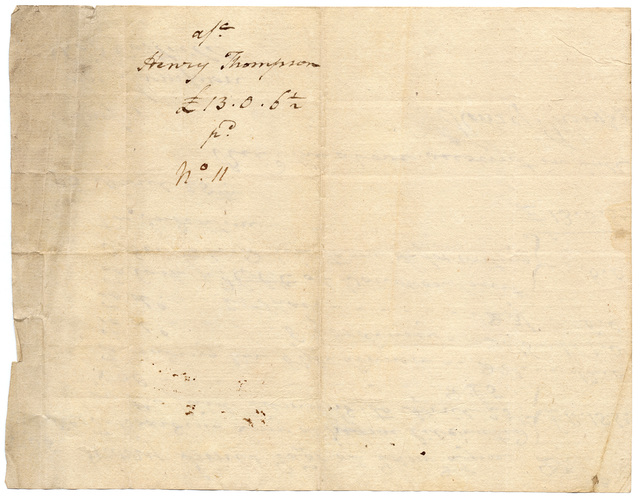 Bill and receipt from Henry Thompson for the maintenance of Lucy, an emancipated African American child