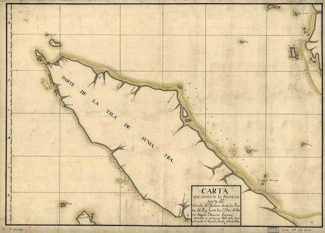 Carta que contiene la primera parte del Estrecho de Malaca desde la Punta del Rey hasta las Yslas de Daru segun Musur Dapres /