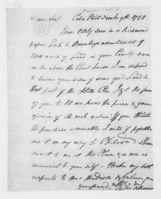 Carter B. Harrison to James Madison, November 9, 1798.