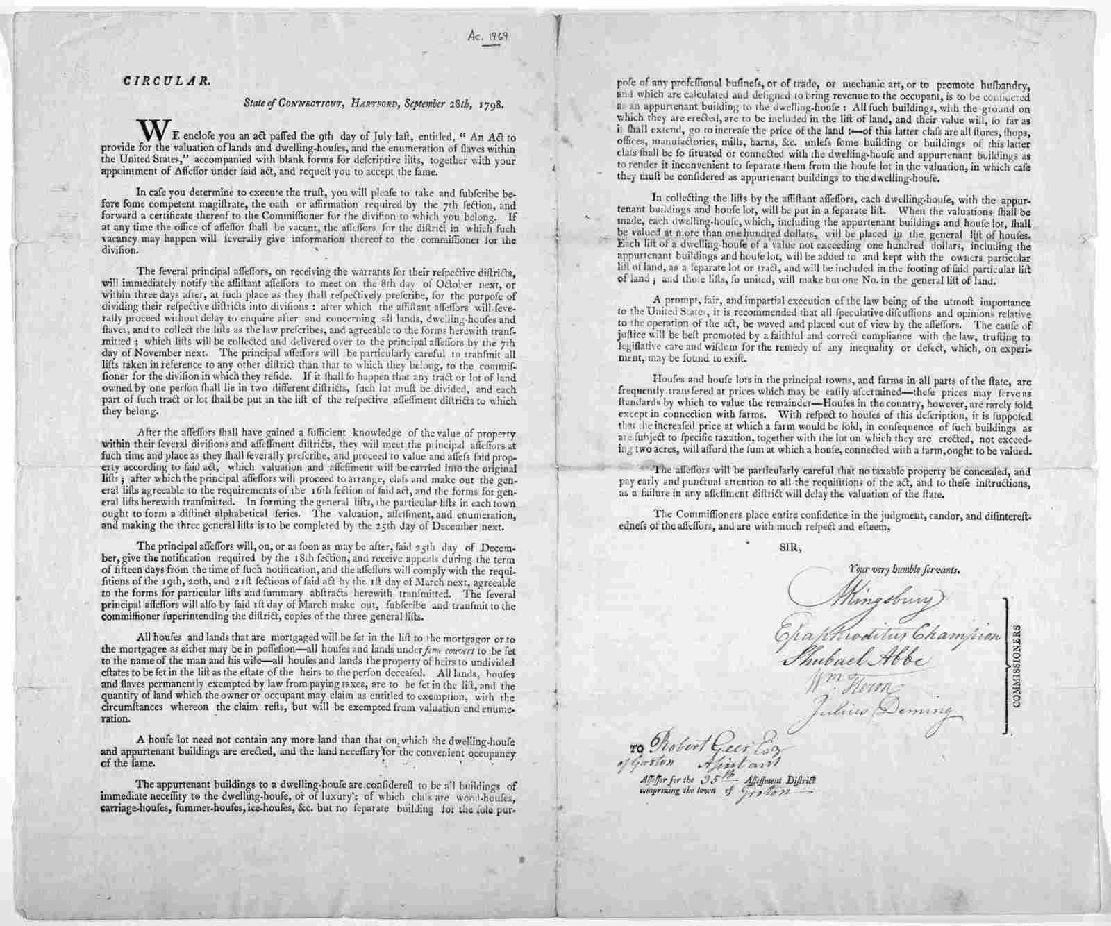 """Circular. State of Connecticut, Hartford, September 18th, 1798. We enclose you an act passed the 9th day of July last, entitled, """"An act to provide for the valuation of lands and dwelling-houses, and the enumeration of slaves within the United S"""