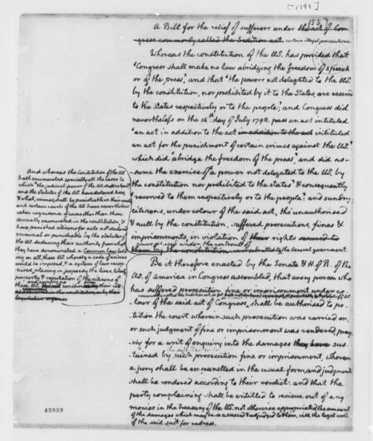 Congress, 1798, Draft, Alien Sedition Acts