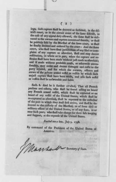 Congress to Armed Private Vessels, July 9, 1798, Printed Instructions