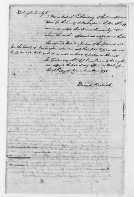 David Redick, April 26, 1798, Michael Crepsap