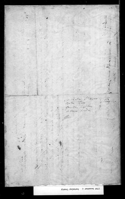 December 4, 1798, Berkeley, German Lutheran Congregation in Shepherd's Town, for lottery the proceeds from which to be used to complete church building.
