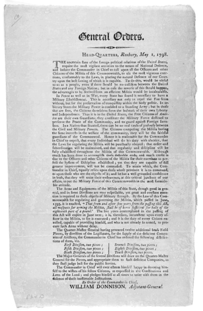 General orders. Head-quarters. Roxbury, May 1, 1798 ... By order of the Commander in chief. William Donnison, Adjutant-General. [Boston: Printed by Young and Minns, 1798].