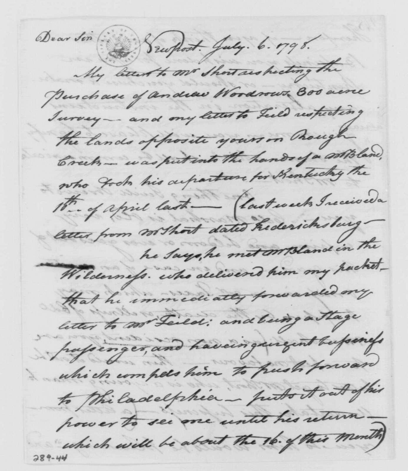 George Washington Papers, Series 4, General Correspondence: Alexander Spotswood to George Washington, July 6, 1798