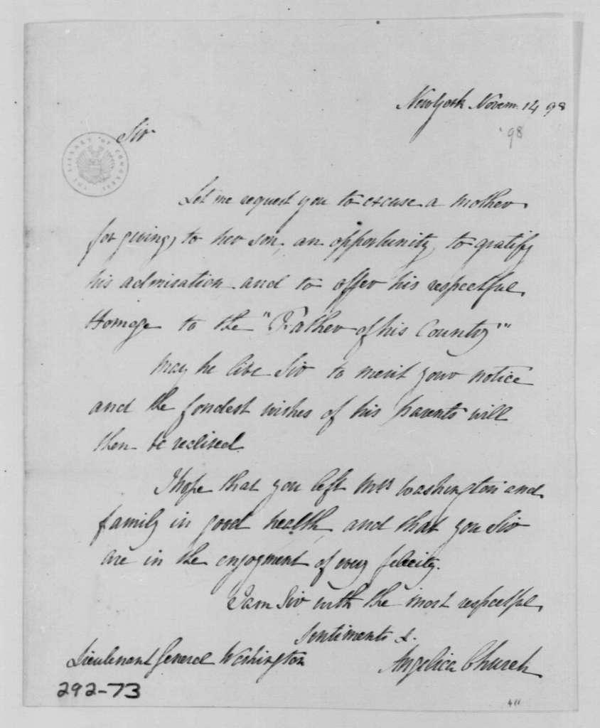George Washington Papers, Series 4, General Correspondence: Angelica S. Church to George Washington, November 14, 1798