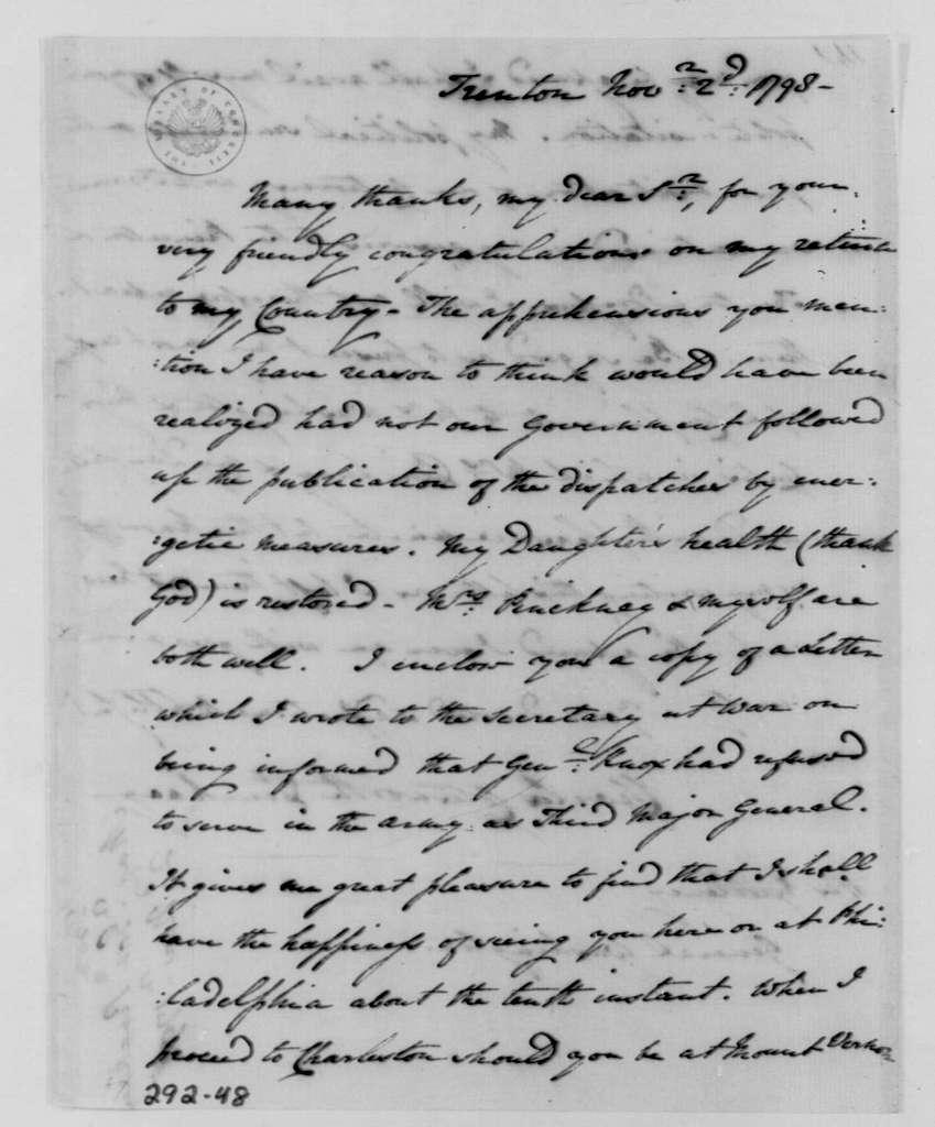 George Washington Papers, Series 4, General Correspondence: Charles C. Pinckney to George Washington, November 2, 1798