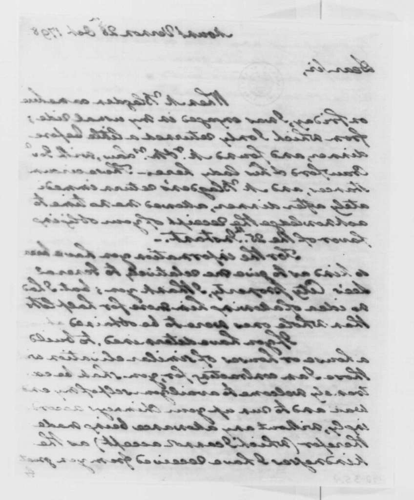 George Washington Papers, Series 4, General Correspondence: George Washington to William Thorton, October 28, 1798