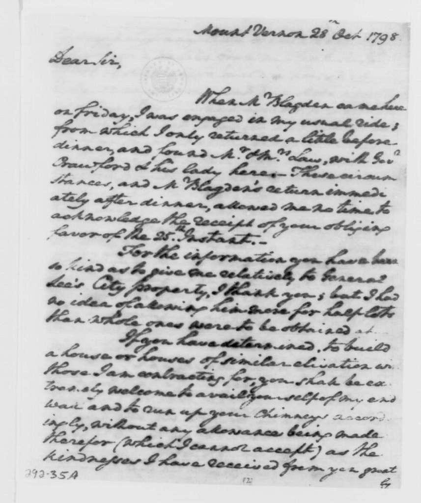 George Washington Papers, Series 4, General Correspondence: George Washington to William Thorton, October 28, 1798