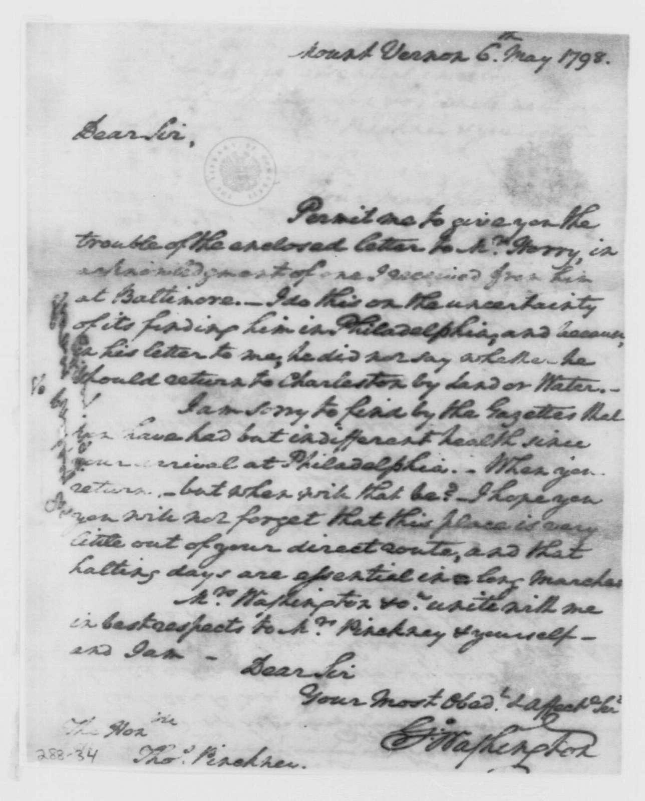 George Washington Papers, Series 4, General Correspondence: George Washington to Thomas Pinckney, May 6, 1798