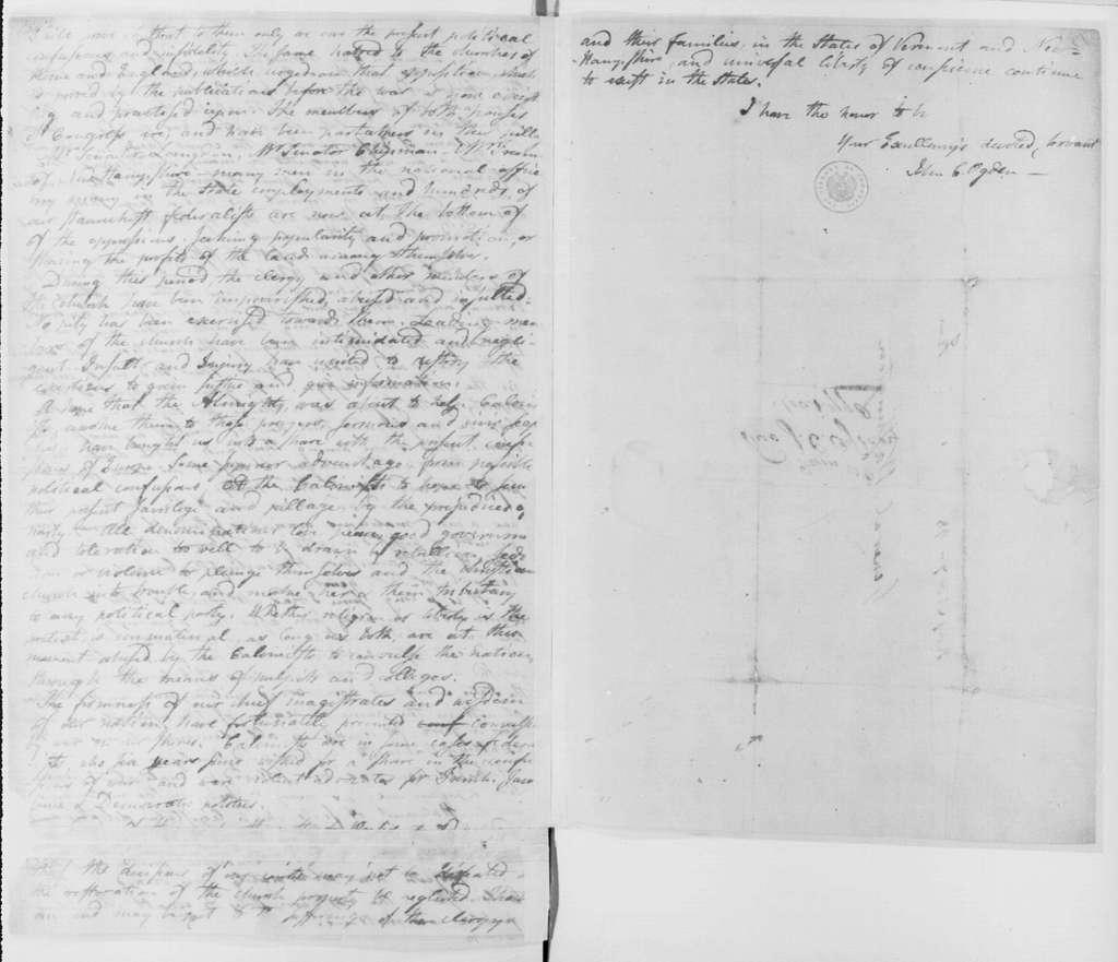 George Washington Papers, Series 4, General Correspondence: John C. Ogden to George Washington, November 1, 1798
