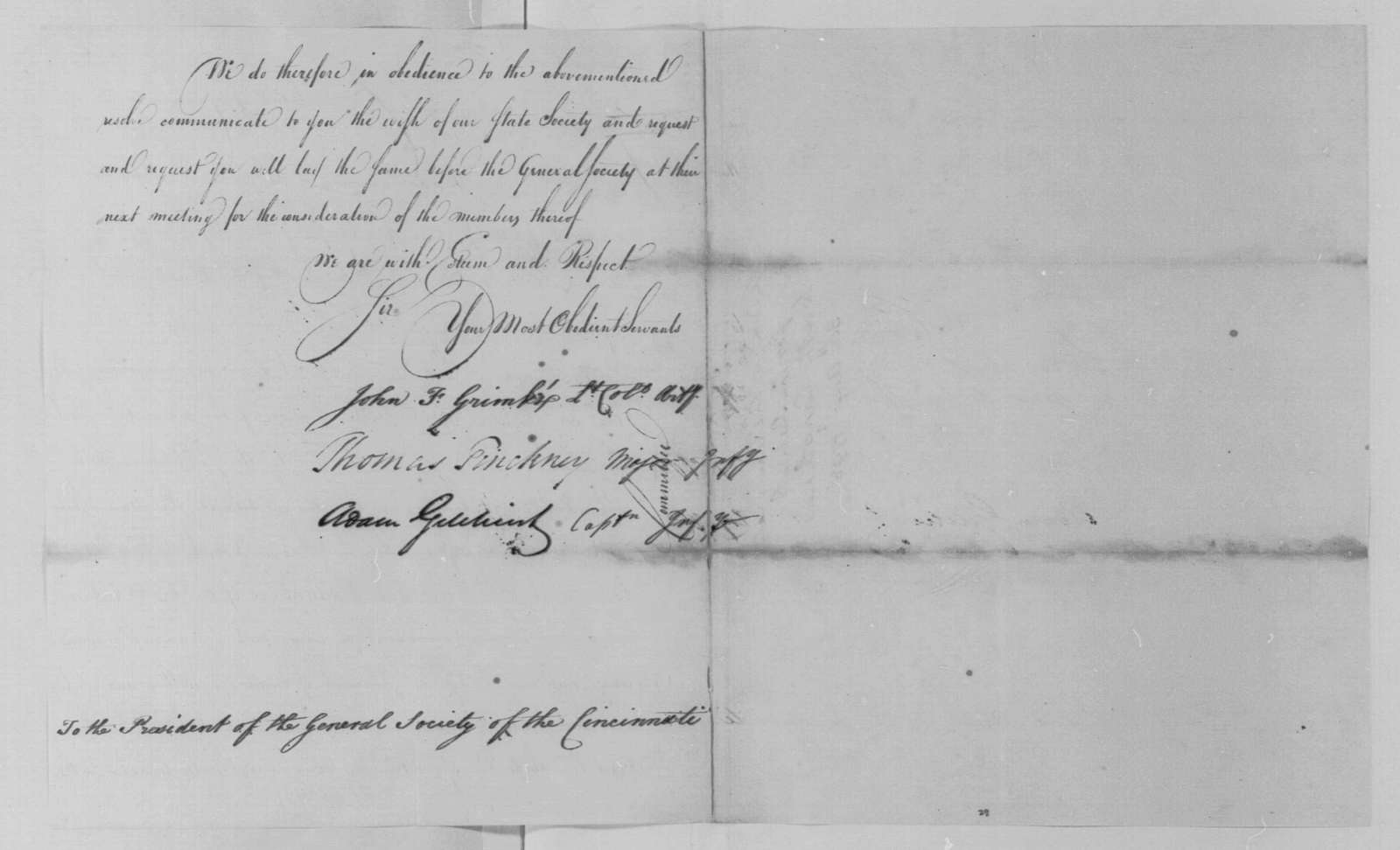 George Washington Papers, Series 4, General Correspondence: Society of the Cincinnati of South Carolina (John F. Grimke, Thomas Pinckney, and Adam Gilchrist) to George Washington, August 30, 1798