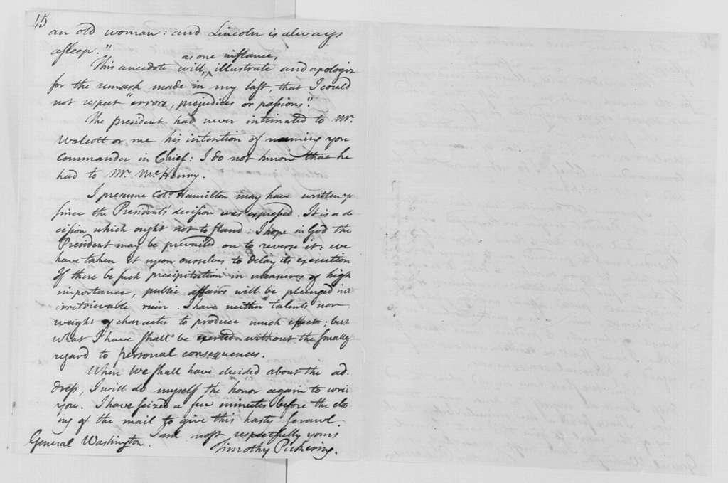 George Washington Papers, Series 4, General Correspondence: Timothy Pickering to George Washington, September 13, 1798