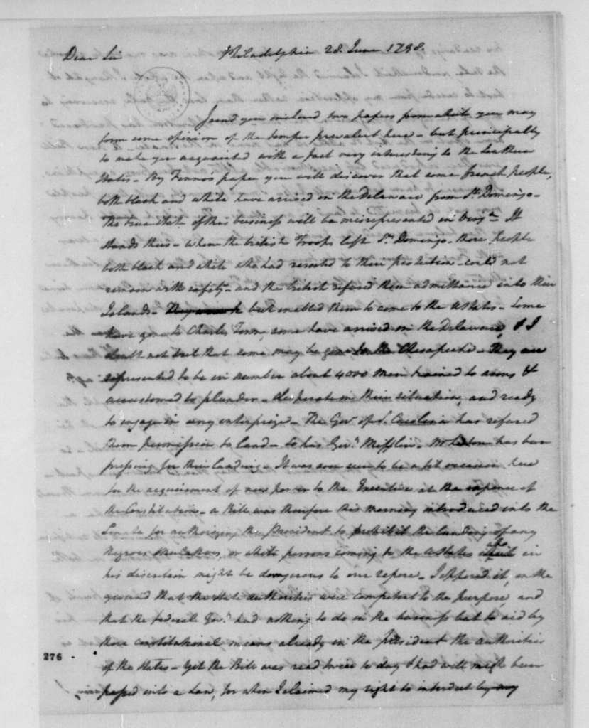Henry Tazewell to James Madison, June 28, 1798.