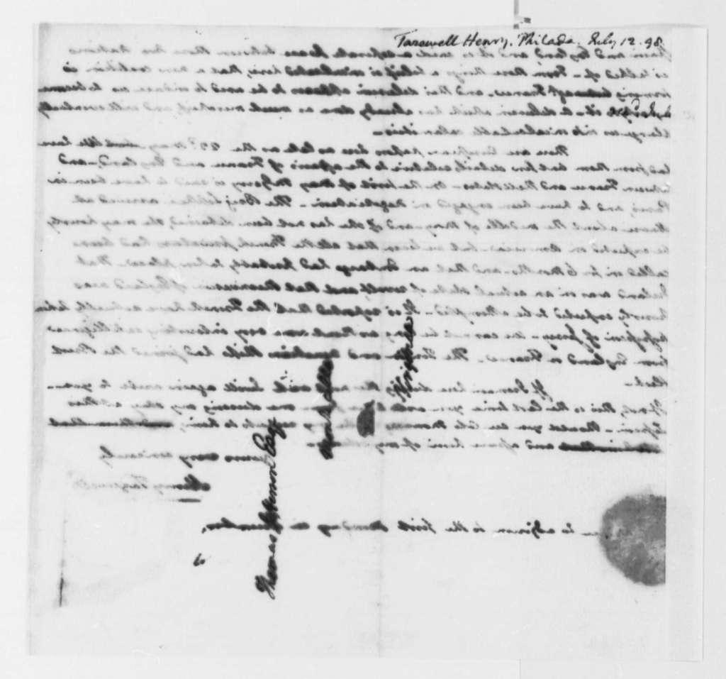 Henry Tazewell to Thomas Jefferson, July 12, 1798