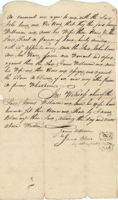 Indenture made between James Wilkinson, Ann Biddle Wilkinson, and John Lewis