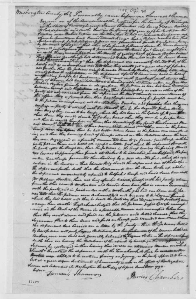 James Chambers, April 20, 1798, Michael Crepsap Deposition