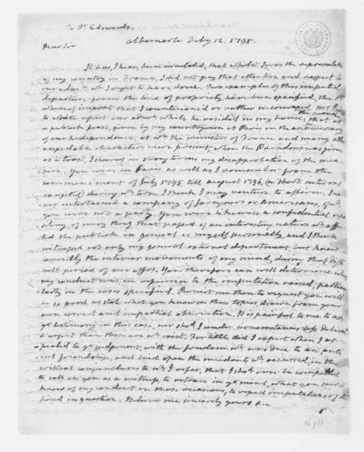 James Monroe to Enoch Edwards, February 12, 1798.