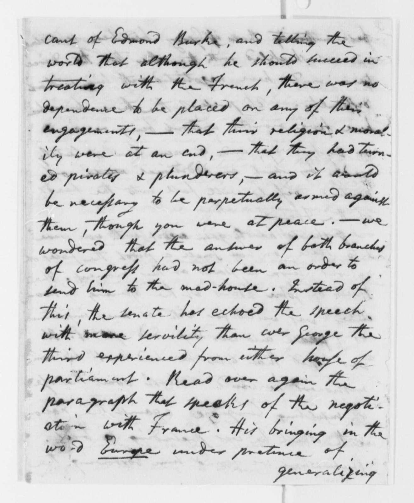 Joel Barlow to Abraham Baldwin, March 4, 1798