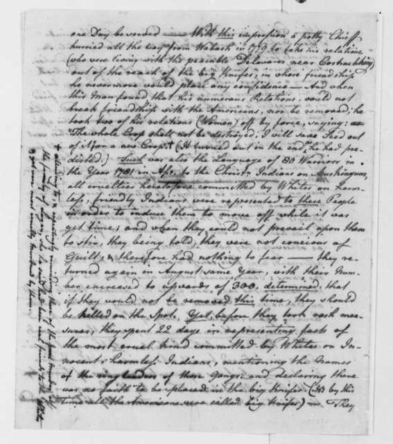 John Heckwelder to Thomas Jefferson, April 28, 1798, Confidential Communication
