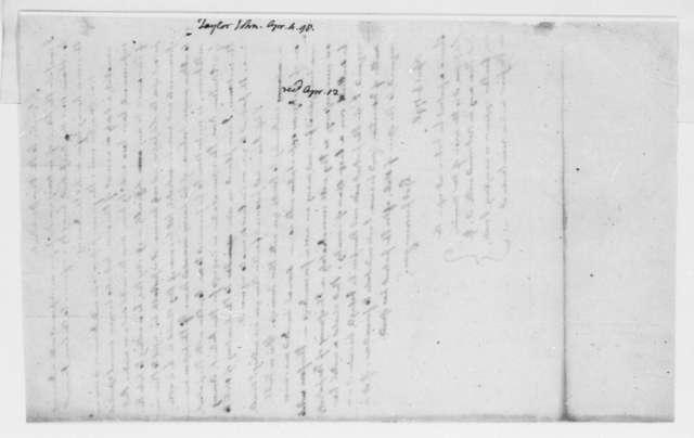John Taylor to Thomas Jefferson, April 4, 1798