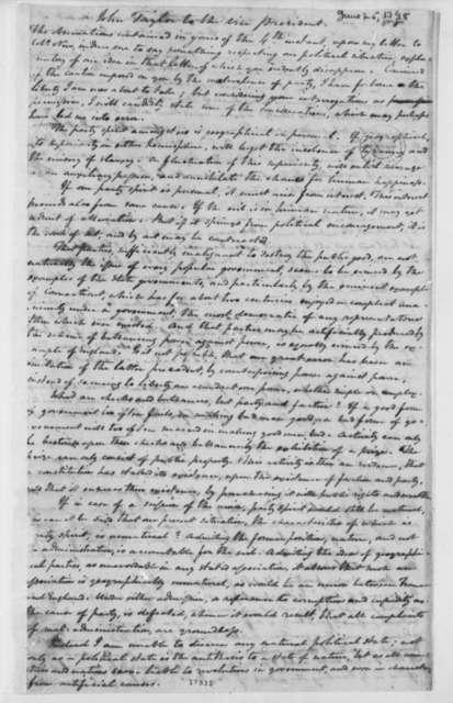 John Taylor to Thomas Jefferson, June 25, 1798
