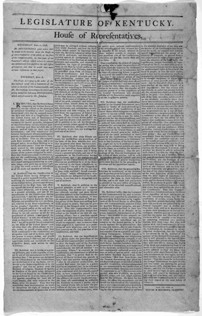 Legislature of Kentucky. House of Representatives. Wednesday Nov. 7, 1798. Mr. Brackenridge gave notice that he would on tomorrow move the house to go into Committee of the whole on the state of the commonwealth, on that part of the Governor's a