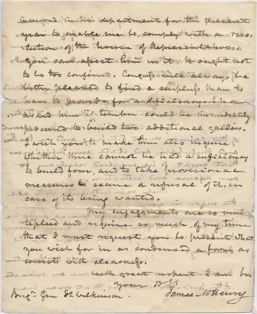 Letter from James McHenry to James Wilkinson