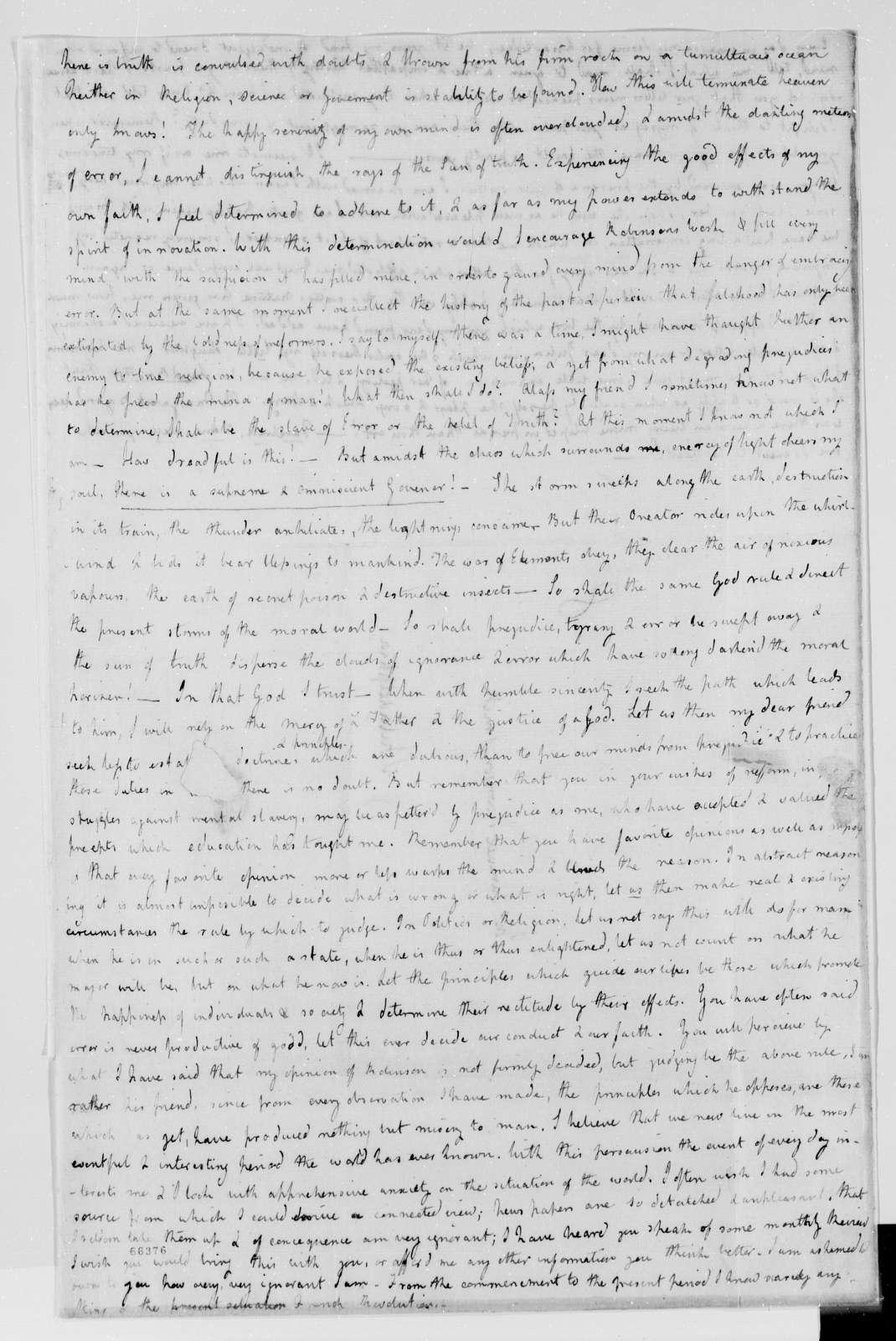 Margaret Bayard Smith Papers: Family Correspondence, 1789-1842; Smith, Samuel Harrison (husband); 1798, July-Nov