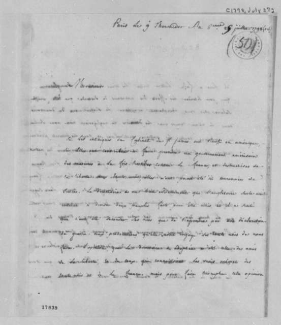 Pierre Auguste Adet to Thomas Jefferson, July 27, 1798, in French
