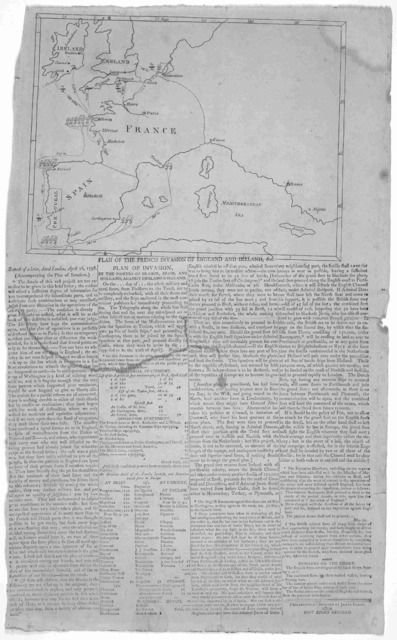 Plan of the French invasion of England and Ireland, &c. Extract of a letter, dated London, April 16, 1798. [Followed by] Plan of invasion, by the powers of France, Spain and Holland against England & Ireland. Philadelphia: Printed by James Carey