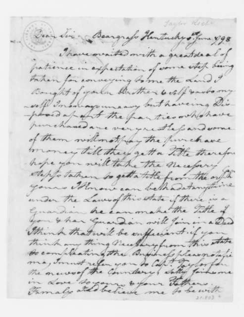 Richard Taylor to James Madison, June 1, 1798.