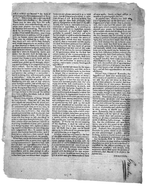 Shall we have a convention? Citizens of Kentucky. [Signed] Gracchus. [Kentucky, Apr.? 1798].